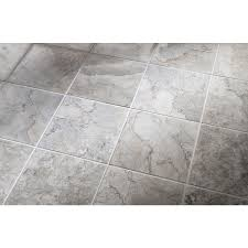 shop allen roth 10 pack grey natural stone floor tile common