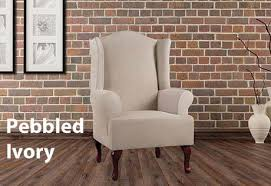 Slipcover Wing Chair Wing Chair Cover In Ultimate Heavyweight Stretch Leather