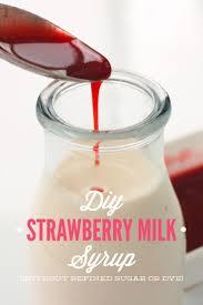 diy strawberry syrup for strawberry milk dye and refined sugar
