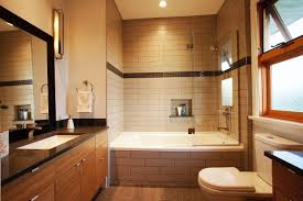 luxurious large bathroom with alcove soaking bathtub shower combo
