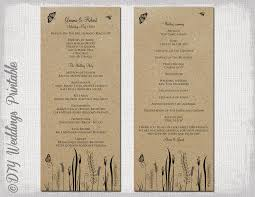 Diy Wedding Programs Templates Rustic Wedding Program Template Butterfly Meadow