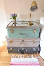 stacked vintage suitcase nightstand with glass top tray table ideas