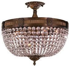 opulent 6 light antique bronze finish crystal semi flush mount
