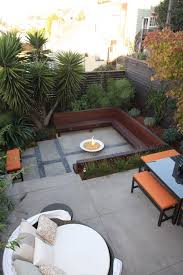 large concrete pavers patio modern with built in seating