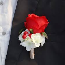 Wedding Boutonnieres Online Shop Red Color Best Man Wedding Boutonniere Groom Godfather