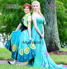 j929 spring frozen fever elsa green dress whole set 2 6 meter cape