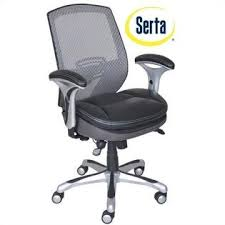 serta ergonomic mesh back task office chair with leather seat