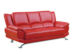 Red Leather Sofa Sets Curved Red Leather Chaise Lounge Chair With Unique Shape Backrest