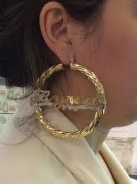 Hoop Earrings With Name Personalized 14k Gold Overlay Any Name Hoop Earrings Jumbo Bamboo