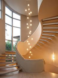 lighting contemporary staircase with beige wall paint color also