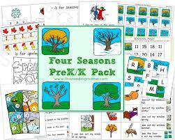 free worksheets four seasons prek k printable pack free