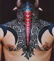 tribal neck and chest tattoo tattoomagz