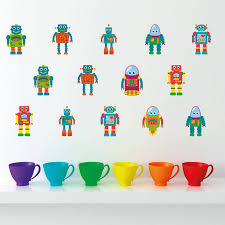 small robot kids wall stickers by mirrorin notonthehighstreet com small robot kids wall stickers