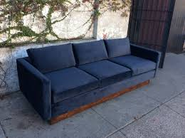 floating couch mid century floating sofa in navy blue velvet sunbeam vintage