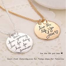 aliexpress love necklace images Fashion unique live the life you love quote double side necklace jpg