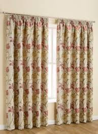 Brown Floral Curtains Louise Cream U0026 Fuchsia Pink Vintage Floral Pencil Pleat Curtain