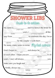 bridal shower game mason jar theme shower game mad libs for the