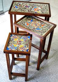 Teak Wood Furniture Online In India Mithila Painted Teak Wood Set 3 Of Tables Furniture Pinterest