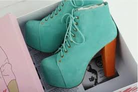 Light Blue High Heels Shoes Boots High Heels Heels Laces Turquoise High Plateau