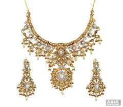 gold pearl necklace set images Bridal antique pearl necklace set ajns56660 22k gold exclusive jpg