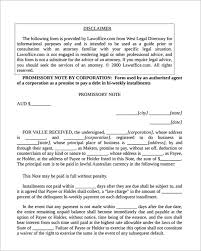installment promissory note template free corporate promissory note template