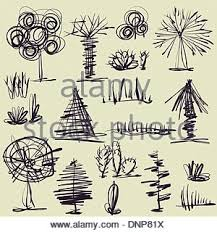 art set of sketching vector trees symbols stock vector art
