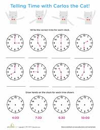 time review tell time with carlos cat 1st grade worksheets