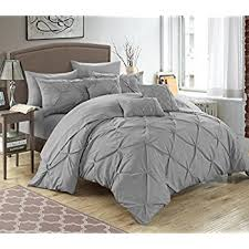 Silver Queen Bed Amazon Com Chic Home 10 Piece Hannah Pinch Pleated Ruffled And