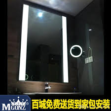 led light guide plate anti fog bathroom mirror black border wall
