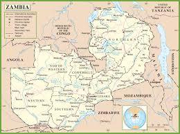 map of zambia zambia political map