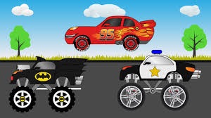 monster truck videos kids youtube lightning mcqueen car batman monster truck and police truck