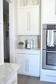 Herringbone Marble Backsplash by Interior Kitchen Tour Herringbone Backsplash Modern White