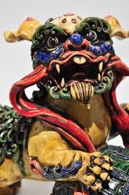 foo dog lion pair mid century pottery buddhistic foo dogs lion statue dog