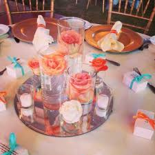 table centerpieces with candles wedding decoration ideas coral wedding decor ideas with flowers