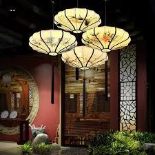 round fabric shade pendant light hand painting round iron fabric lantern shade pendant light fixture