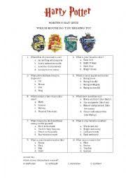 english worksheets sorting hat quiz harry potter