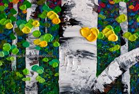 new artwork colourful acrylic painting of fall aspen and birch