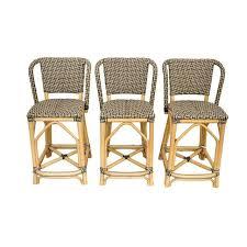 Palecek Bistro Chair Palecek Patio Terrace Bistro Bar Stools Set Of 3 Chairish