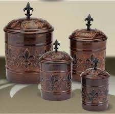 copper kitchen canister sets kitchen canisters antique copper fleur de lis kitchen canister