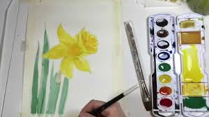 watercolor daffodil tutorial youtube