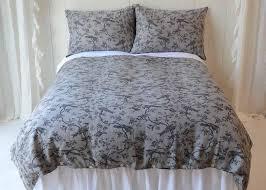 duvet cover linen grey bird toile queen duvet cover bella