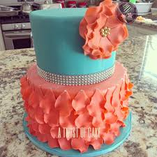 Tiffany Blue Baby Shower Cake - turquoise and coral baby shower cake a twist of cake pinterest