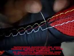 rivestimento volante in pelle rivestimento cucitura volante in vera pelle nera e punzonata rossa
