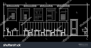 linear architectural sketch interior classroom front stock vector