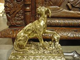 antique bronze and brass hunting dog fireplace fender from france