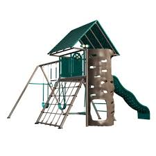 Metal Backyard Playsets Heavy Duty Metal Playset With Clubhouse Earthtone
