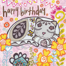 Cat Birthday Cards Cat Flowers Birthday Card Karenza Paperie