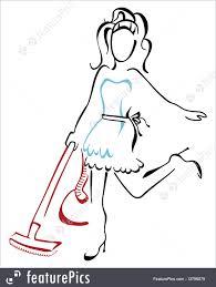illustration of woman vacuuming at house