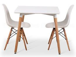 Dining Set 2 Chairs Eiffel Small White Dining Set 80cms Square Table Wood Legs 2