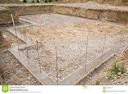 construction basement footings rebar excavated stock photo image